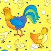 Fast Food - Cluck Cluck on Yellow - BI-roosters-K952