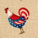 From the Heartland - Patriotic Folk Art Roosters on Beige Texture