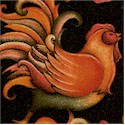 Tossed Folk-ish Roosters on Black