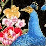 Sakura - Asian Style Gilded Peacock and Floral Scenes