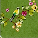 Skylark - Small Scale Birds and Flowers on Green
