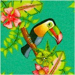 Pink Lady - Tropical Birds and Flowers on Green