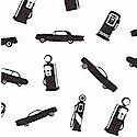 Fill �er Up - Tossed Vintage Cars and Gas Pumps- LTD. YARDAGE AVAILABLE IN 2 PIECES.