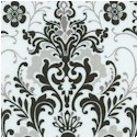 Black, White & Current III - Ornate Damask on Ivory