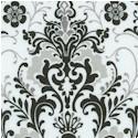 Black, White & Current III - Ornate Damask on Ivory