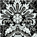 Black, White & Current III - Ornate Damask on Black