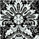 Black, White & Current III - Ornate Damask on Black
