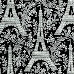 Ooh La La! Eiffel Tower and Floral Toile on Black- BACK IN STOCK!