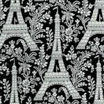 Ooh La La! Eiffel Tower and Floral Toile on Black- BACK IN STOCK! (MISC-eiffeltower-B431)