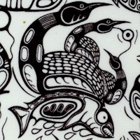 Healing Waters - Totem Style Loons and Fish by Mark Anthony Jacobson