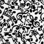 Three Quarter Time - Tossed Musical Notes and Symbols in Black and White