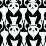 Rows of Panda Bears in Black and White