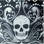 Wicked - Skull Damask on Mottled Gray