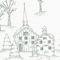 Through the Woods - Winter Village in Black and Ivory- LTD. YARDAGE AVAILABLE