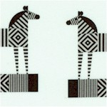 Geo Zoo - Funky Zebras on Ivory
