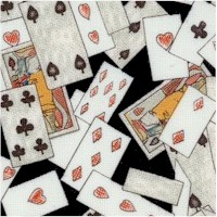 Alice in Wonderland - Tossed Small-Scale Playing Cards on Black