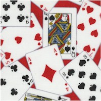 Man Cave - Tossed Playing Cards on Red