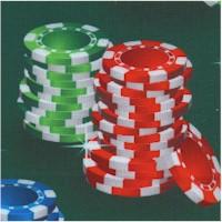 Poker Chip Stacks on Green